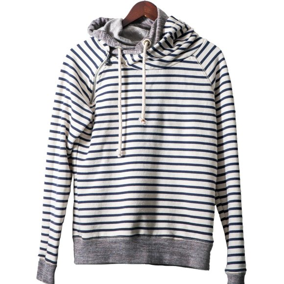 Maison Scotch Nautical Stripe Asymmetrical Hoodie